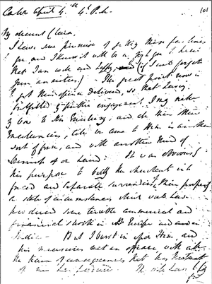 Handwriting - Charles Elliot's handwriting to Clara Elliot