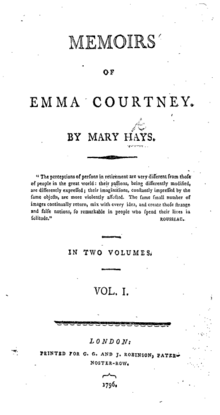 "Page reads ""MEMOIRS OF EMMA COURTNEY. BY MARY HAYS. ""The perceptions of persons in retirement are very different from those of people in the great world: their passions, being differently modified, are differently expressed; their imaginations, constantly impressed by the same objects, are more violently affected. The same small number of images continually return, mix with every idea, and create those strange and false notions, so remarkable in people who spend their lives in solitude."" ROUSSEAU. IN TWO VOLUMES. VOL. I. London: Printed for C.G. and J. ROBINSON, PATER-NOSTER-ROW, 1796."""