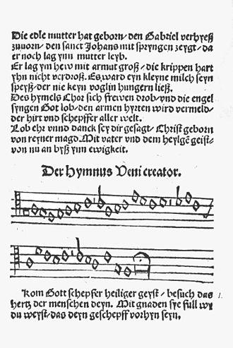 Komm, Gott Schöpfer, Heiliger Geist - The first page in the Erfurt Enchiridion, 1524