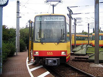 Hardt Railway - Terminus at Hochstetten in 2005; in 2008 the stop was moved away from the inconvenient curve
