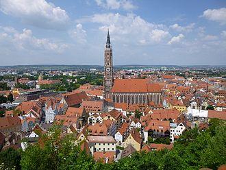 Landshut - Town centre with St. Martin's Church