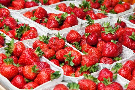 Strawberries at Viktualienmarkt in Munich, Germany