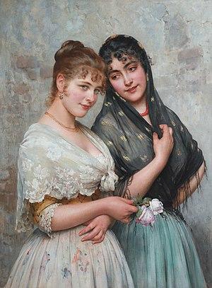 Eugene de Blaas - Eugen von Blaas : Two Venetian Women