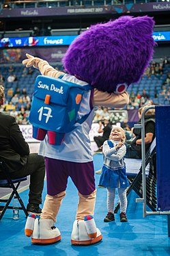 EuroBasket 2017 - Mascot Slam Dunk and a young fan 1.jpg