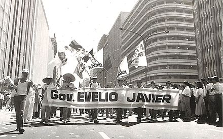 Men gathered in the streets days after Javier's death that helped in the start of the People Power Revolution Eveliojavierprotest.jpg