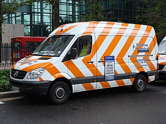 Evening Standard - The Evening Standard has a fleet of delivery vans painted in a distinctive orange and white livery