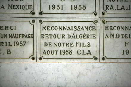 Ex-voto in Notre-Dame de la Garde thanking for the safe return of a son from Algeria, August 1958 Ex voto mg 6329.jpg