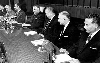 Arab Socialist Union (Egypt) - The Executive Committee of the ASU at a party conference, March 1969. From right to left: Diaa al-Din Dawoud, Mahmoud Fawzi, Hussein el-Shafei, Gamal Abdel Nasser, Anwar Sadat, Ali Sabri and Labib Shukair.