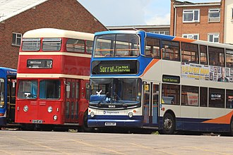 Stagecoach South West - A preserved Devon General Leyland Atlantean and modern Stagecoach Alexander ALX400 bodied Dennis Trident 2 (Exeter depot, June 2014)