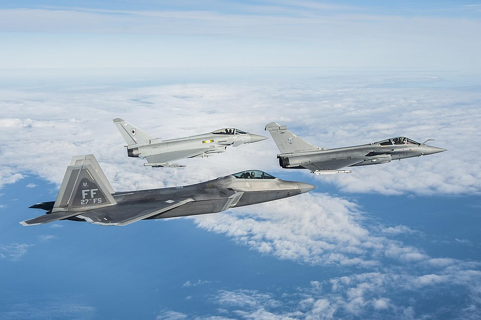 F-22 Raptor, Eurofighter Typhoon and Dassault Rafale fly in formation - 151207-F-KB808-347
