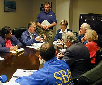 Christine Todd Whitman - FEMA Director James Lee Witt meets with Governor Whitman and other New Jersey officials to discuss the response to Hurricane Floyd, September 21, 1999.