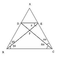 Find the value of 'X' in this triangle.jpg