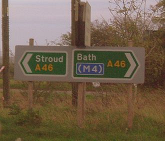 A46 road - A fingerpost sign along the A46 in South Gloucestershire. Near the junction with the M4