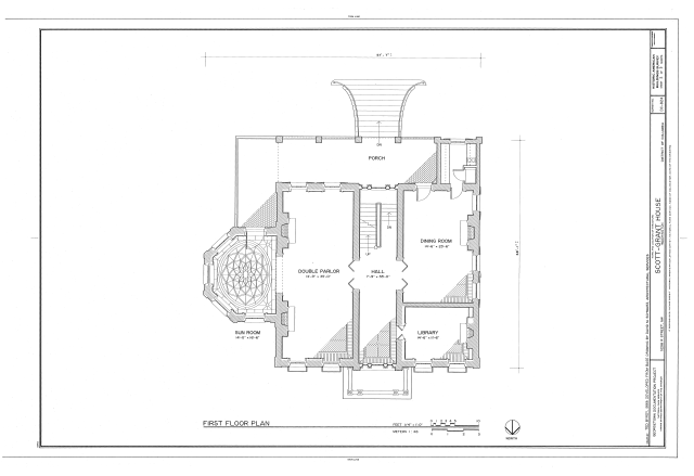 File first floor plan scott grant house 3238 r street northwest washington district of for Who designed the basic plan for washington dc