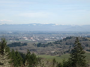 Corvallis, Oregon - The OSU campus and Cascade Range from Fitton Green