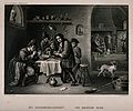 Five men sit indoors smoking and drinking, others play cards Wellcome V0019054.jpg