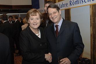 Cyprus–Germany relations - Angela Merkel with Nicos Anastasiades in 2007 EPP summit