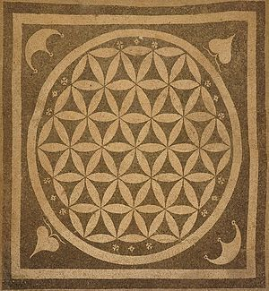 Overlapping circles grid - Image: Flower of life ephesos square