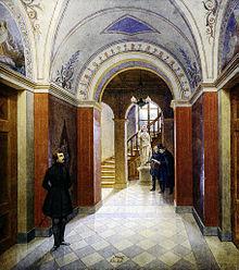 Vestibül im Wohnhaus Schadows in Düsseldorf, im Hintergrund Schadow mit einem Besucher, Aquarell von Rudolf Wiegmann, 1836 (Quelle: Wikimedia)