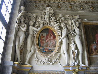 Plaster - Elaborate stucco (plaster) reliefs decorating the Chateau de Fontainebleau were hugely influential in Northern Mannerism. There is a plaster low-relief decorative frieze above.