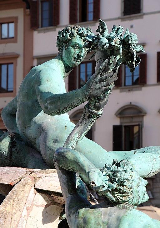Giambologna e Bartolomeo Ammannati, Fontana del Nettuno (particolare divinità marina maschile del Giambologna), Piazza della Signoria, Firenze