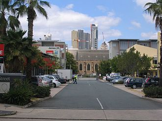 Fortitude Valley, Queensland - Looking through to St Patricks Catholic Church in Fortitude Valley with the Brisbane CBD in the background