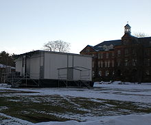 Modular building on snowy college campus