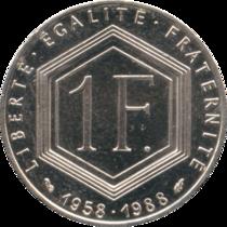 France - P - 1 - Franc - 1988 - Charles de Gaule 5ième République - A.png