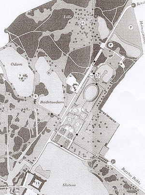 Park of Frederiksborg Castle - Old map of the gardens of Frederiksborg