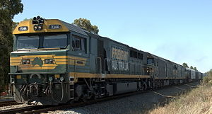 Freight Australia - V544 and 2 G class locomotives in the Swan Valley in January 2006
