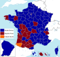 French presidential election (1. round) results (including overseas) by departament, 2007.png