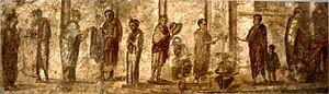 Forum (Roman) - Wall painting from Pompeii depicting everyday activities in the marketplace