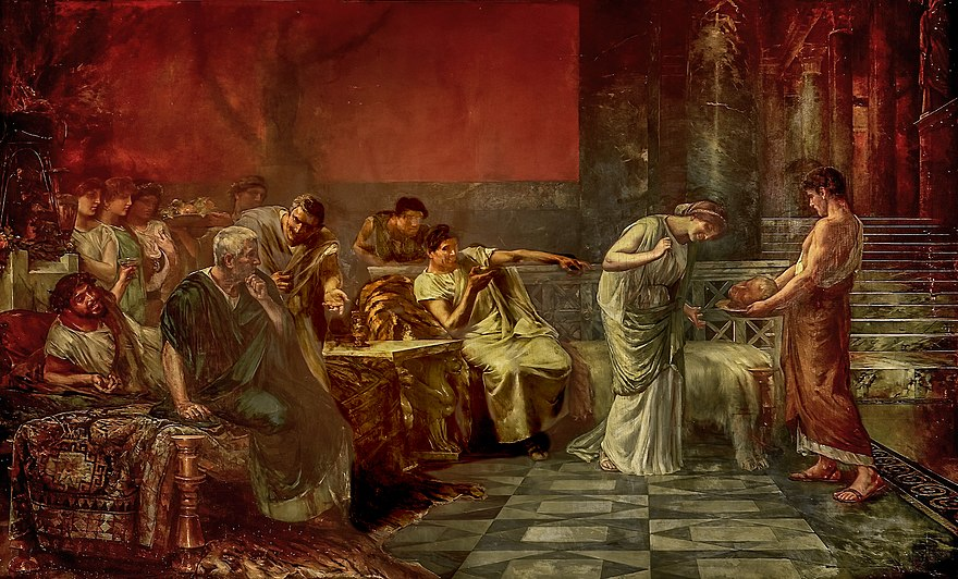 The vengeance of Fulvia by Francisco Maura Y Montaner, 1888 depicting Fulvia inspecting the severed head of Cicero Fulvia y Marco Antonio, o La venganza de Fulvia (Museo del Prado).jpg