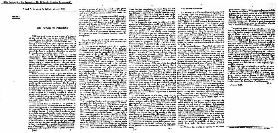 Future of Palestine Herbert Samuel memorandum 1915 CAB 37 123 43