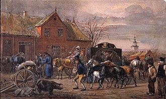 1863 in Sweden - Gästgivaregård i Halland, 1863. Fritz von Dardel - Nordiska Museet - NMA.0029088