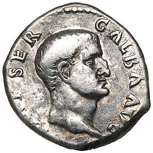 Halotus - Galba, the first of the four emperors of the Year of the Four Emperors (68) seen on a coin.