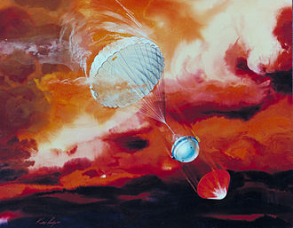 Outer planets - The Galileo Probe plunged deep into Jupiter in 1995. It was carried to the Jovian system by the Galileo spacecraft, where it was released and survived what was then the highest-velocity atmospheric entry yet attempted.