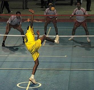 Sepak takraw - Image: Game of Sepaktakraw at a match in Strasbourg