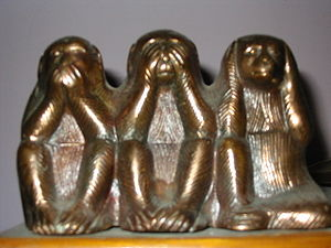 "English: The three wise monkeys, ""See no ..."