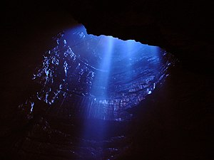 Gaping Gill - Entrance shaft viewed from the Main Chamber