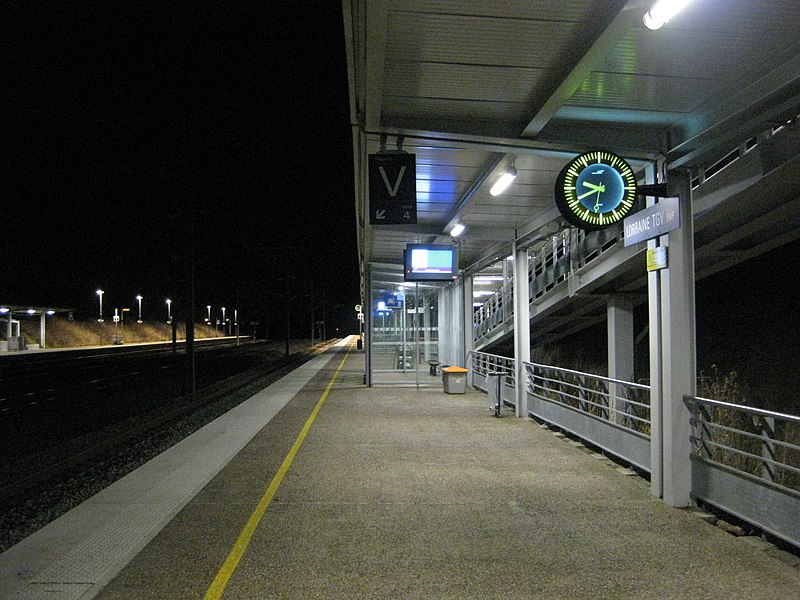 Platform of Lorraine TGV railway station for trains to Paris, a night view to the East