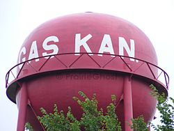 """Gas Kan""- shaped Watertower in Gas (2012)"