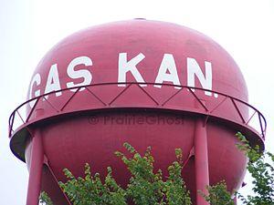 """Gas, Kansas - """"Gas Kan""""- shaped Watertower in Gas (2012)"""