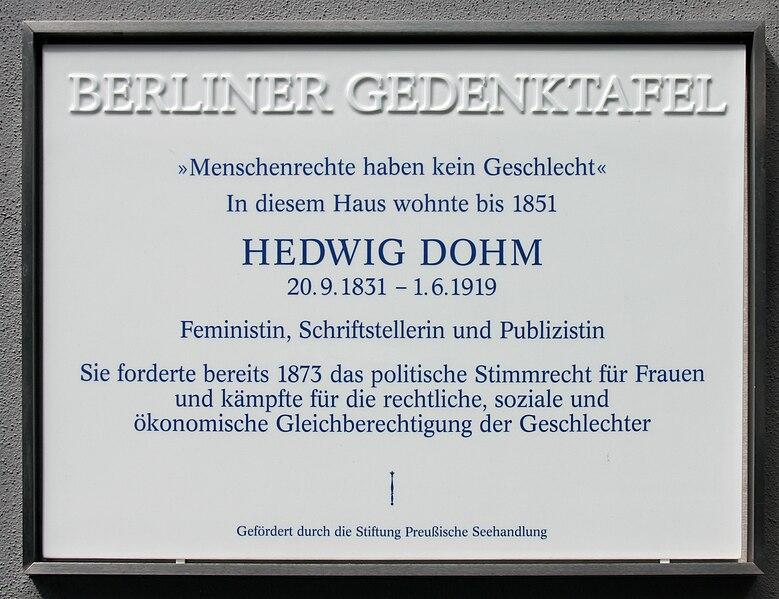 File:Gedenktafel Friedrichstr 235 (Kreuz) Hedwig Dohm.jpg