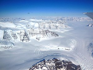 The glacier of the Geikie Plateau in Greenland. Geikie Plateau Glacier.JPG