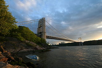 George Washington Bridge - The bridge, looking south from the New York side of the Hudson River.