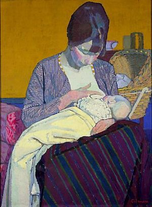 Single parent - Harold Gilman's Mother and Child, painted in 1918, depicts the traditional bond between a mother and child from early on in life.