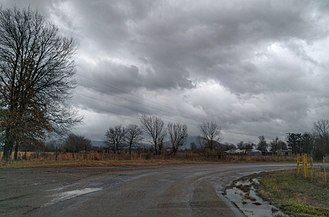 Gilmore, Oklahoma - Sugarloaf Mountain with Gilmore, Oklahoma in foreground