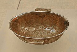 Tang era gilt-silver ear cup with flower motif