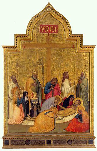 Giottino - Pietà of San Remigio. ca. 1365, Tempera on wood, 195 x 134 cm, Galleria degli Uffizi, Florence.